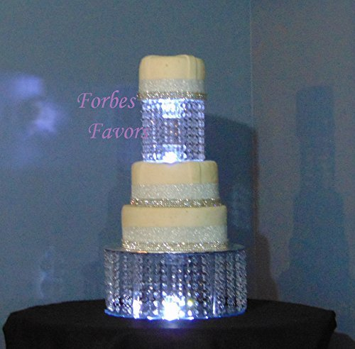 Set of 2 Empire Style Acrylic Chandelier Cake Stands By Forbes Favors With Battery LED Lights Wedding Cake, Anniversary or Special Occasion ( 6'' & 12'') ( 6'',& 14'') ( 8'' & 12'') or ( 8'' & 14'') by Forbes Favors
