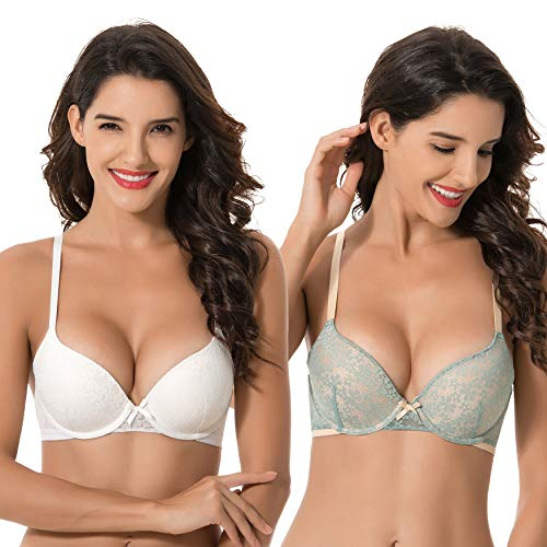 Curve Muse Womens Plus Size Perfect Shape Add 1 Cup Push Up Underwire Lace Bras-2PK-LIGHT Blue,IVORY-38D ()