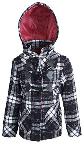 - dollhouse Little Girls Dressy Waisted Wool Hooded Winter Toggle Peacoat Jacket - Jeannie Plaid (Size 2T)