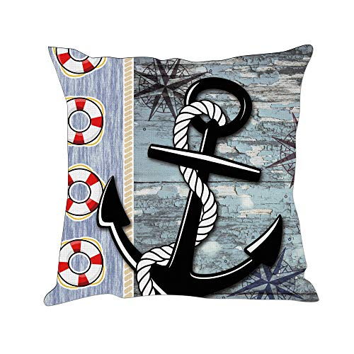 Tom Boy Nautical Anchor Pillow Covers Decorative Linen Square Cushion Pillow Cases for Couch Sofa,18
