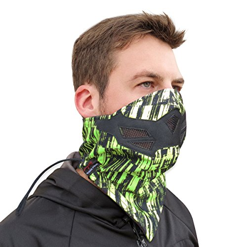 Half Face Mask for Cold Winter Weather. Use this Half Balaclava for Snowboarding, Ski, Motorcycle. (Many Colors) (Green-Black)