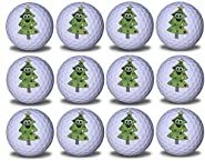 Christmas Tree Imprint Novelty Golf Balls 12 Pack