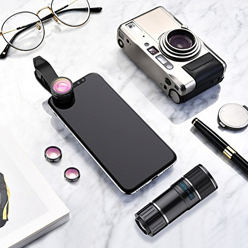Phone Camera Lens, 4 in 1 iPhone Telephoto Lens, 14X Telephoto Lens + 180° Fisheye Lens + 15X Macro Lens + 0.65X Wide Angle Lens + Tripod & Phone Holder for iPhone x 8 7 6 plus, Samsung and Smartphone by UMTELE (Image #6)