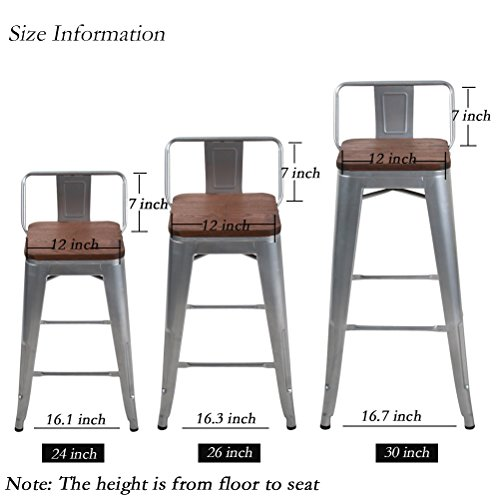 Changjie Furniture Low Back Metal Bar Stool for Indoor-Outdoor Kitchen Counter Bar Stools Set of 4 (30 inch, Low Back Silver with Wooden Top)