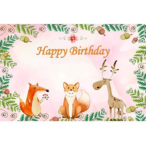 Leyiyi Cartoon Birthday Party Backdrop 10x6.5ft Photography Backdrop Animal Deer Fox Palm Civet Fruit Vivifying Leaves Children Baby Birthday Portraits Studio Props ()