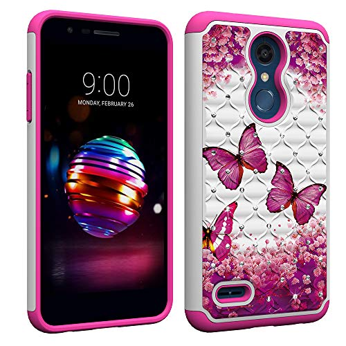 Berry Accessory LG K30 Case,LG Phoenix Plus/LG Premier Pro LTE/LG K10 Alpha/LG K10 2018 Luxury Glitter Sparkle Bling Case,Studded Rhinestone Crystal Hybrid Dual Layer Armor Case Pink Butterly