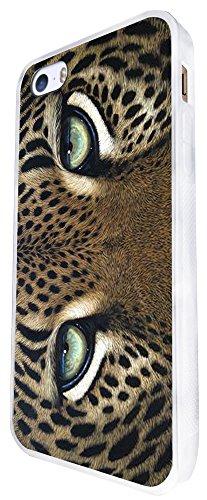 1133 - Cute Fun Amazing Nature Leopard Eyes Cat Kitten Feline Design iphone SE - 2016 Coque Fashion Trend Case Coque Protection Cover plastique et métal - Blanc