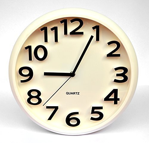 Reloj de Pared Cuarzo con Puntero y 3D Reloj Pagar Reloj Cocina Blanco