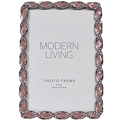 """NIKKY HOME Vintage Desktop Pewter Jeweled Picture Frame - Holds 4"""" x 6"""" Photos, Mauve"""