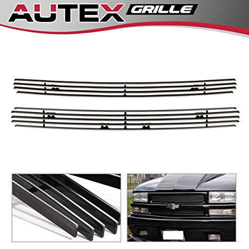 (AUTEX C65705A Aluminum Polished Chrome Main Upper Billet Grille Insert Compatible With 1998 1999 2000 2001 2002 2003 2004 2005 Chevy Blazer, 1998-2004 Chevy S10 Grill)