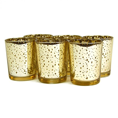 50th Anniversary Votive Holder - Koyal Wholesale 12-Pack Antique Votive Cup, Gold, Mercury Glass Candle Holders, Wedding Votive Candle Holders