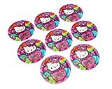 Adorable Hello Kitty Rainbow Round Paper Plates Birthday Party Disposable Tableware (8 Pack), Pink, 9