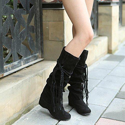 Noir Femme Tessal Esailq Bottes Moto Rétro Chaussures Classiques tOx0qx