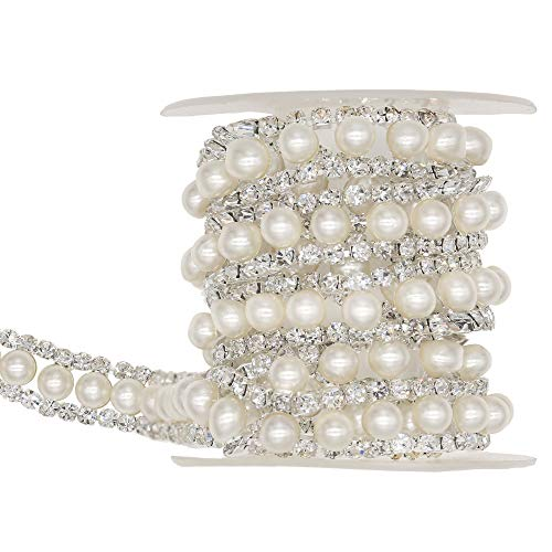 XIAOTAI Rhinestone Trims 5 Yards 2 Rows Silver Close Chain Banding Diamond Inlaid White Pearl Beaded for Clothing and Bridal Bouquet Embellishments Exquisite Wedding and Easter ()