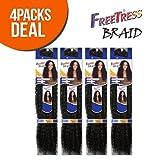 "FreeTress Synthetic Hair Crochet Braids Water Wave Bulk 12"" (4-Pack, 1B)"