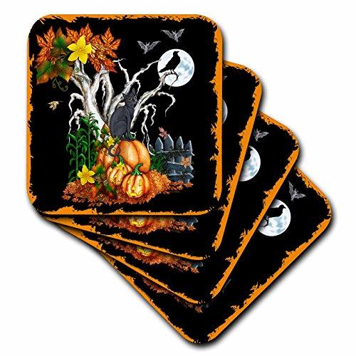 (3dRose Dream Essence Designs Halloween - Halloween night with a black cat, creepy tree, full moon, bats and jack o lanterns - set of 8 Ceramic Tile Coasters)