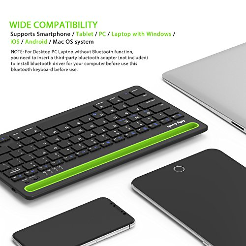 Bluetooth keyboard, Jelly Comb BK230 Dual Channel Multi-device Universal Wireless Bluetooth Keyboard Rechargeable with Sturdy Stand for Tablet Smartphone PC Windows Android iOS Mac (Black and Green) by Jelly Comb (Image #5)