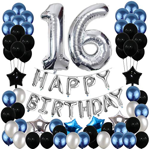 16th Birthday Decorations, Yoart 16 Birthday Party Decoration Balloons Party Supplies Blue and Silver Foil Star Balloons for Women Men 80pcs