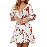 Womens Fashion Summer Casual Short Sleeve V-Neck Bow Bandage,Selinora Lady's Loose Sexy Ruffles Floral Print Mini Dress White