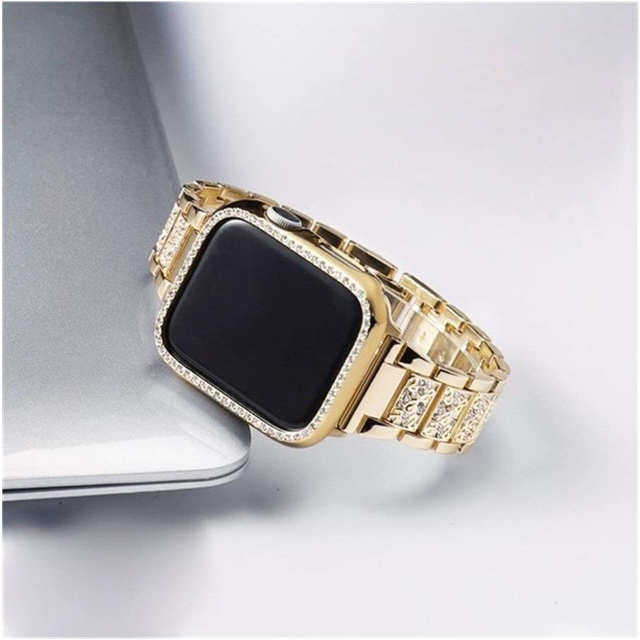 Fashion Compatible with Apple Watch Bands 38mm 40mm 42mm 44mm, Stainless Steel Replacement Strap Compatible for Iwatch Series 5/4/3/2/1 Non-Slip (Color : Gold, Size : 38mm)
