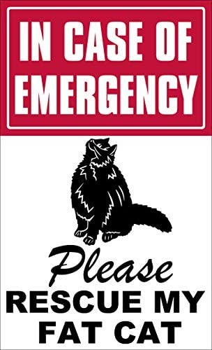 3x6 inch In Case of Emergency Please Rescue My Fat Cat Sticker decal save fire