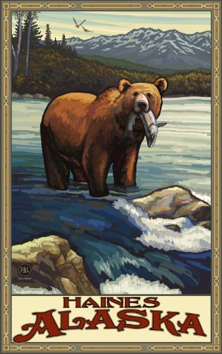 Northwest Art Mall Haines Alaska Grizzly with Fish Artwork by Paul A. Lanquist, 11 by - Mall Haines