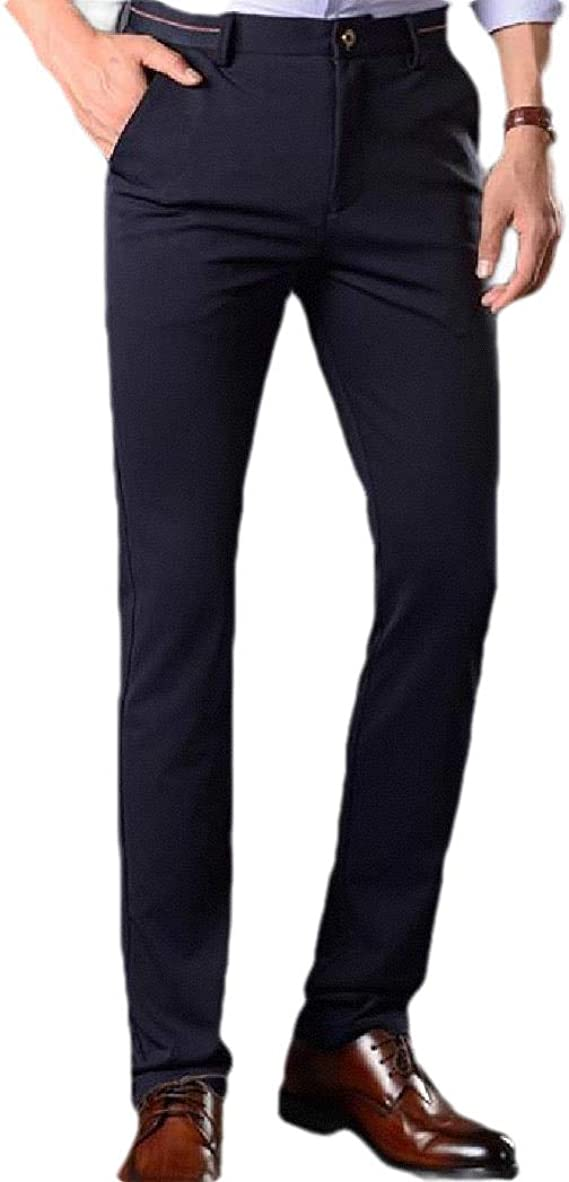 VITryst Mens Relaxed-Fit Slim-Fit Straight Business Thicken Plain Front Pant