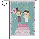 ALAZA Wedding Just Married Garden Yard Flag 12 x 18 Inch, Happy Just Married Couples House Banners Mr & Mrs Wedding Engagement Cake Double Sided Decorative Flags for Outdoors Home Party