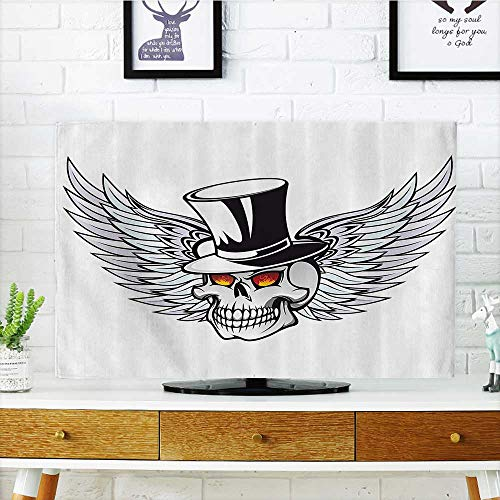 L-QN tv dust Cover The Godfather Skull with Wings and Hat Dead Boss in Gothic Mod Dust Resistant Television Protector W35 x H55 INCH/TV 60