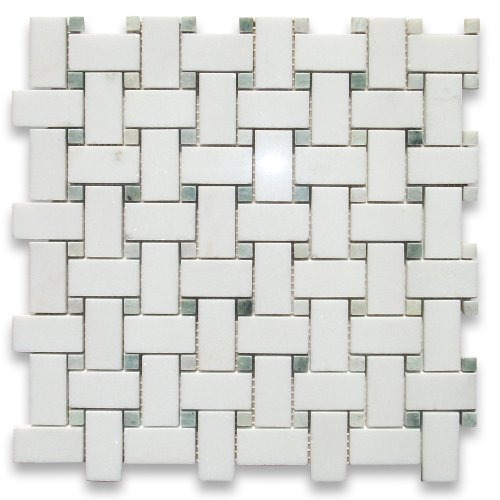 Thassos White Greek Marble Basketweave Mosaic Tile Green Dots 1 x 2 Polished