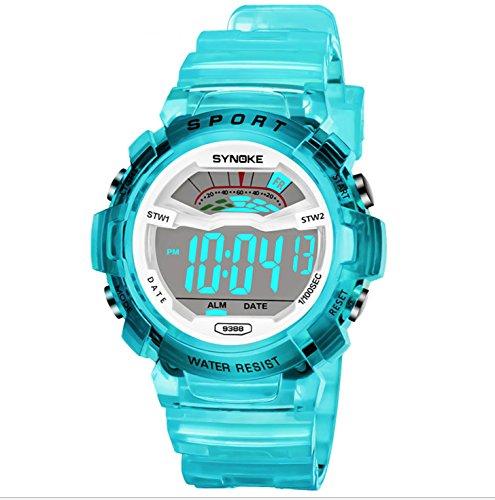 Boys Girls Kids Digital Watches,Super Soft Band Student Age 4 5-7 7-10 11-15 Blue Green Digital Watch Wristwatches for Teenagers Girls Boys Kids (Target Kids Watches)