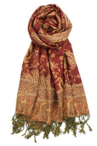 Achillea Soft Silky Reversible Paisley Pashmina Shawl Wrap Scarf w/Fringes (Rust)