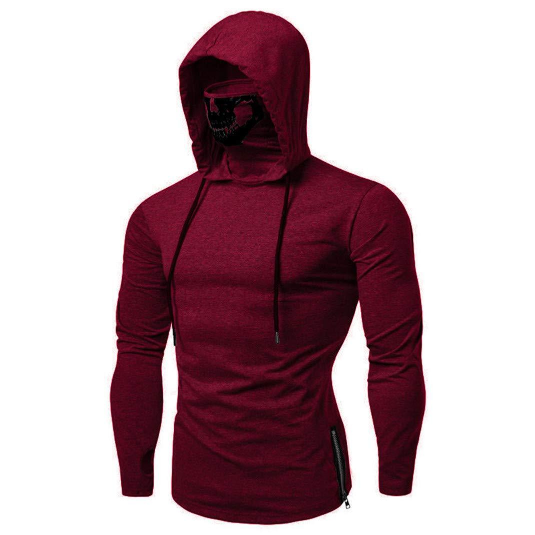 FRCOLT Mens Mask Skull Pure Color Side Zipper Long Sleeve Hooded Sweatshirt Pullover
