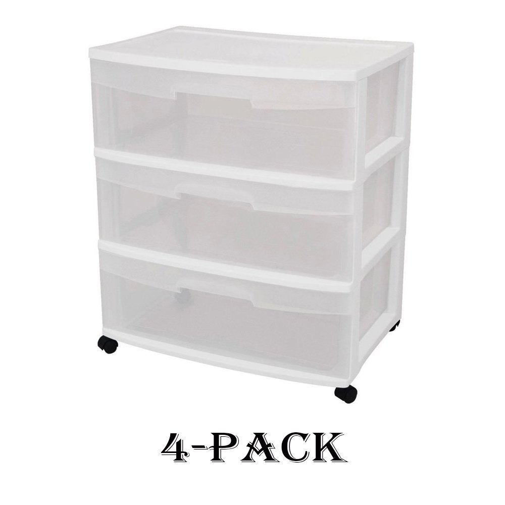 Sterilite 29308001 Wide 3 Drawer Cart, White Frame with Clear Drawers and Black Casters (4)