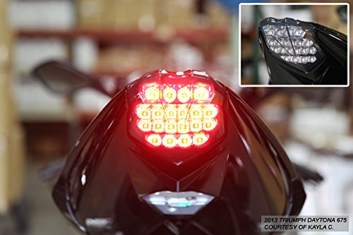 Integrated Sequential LED Tail Lights Smoke Lens for 2013-2017 Triumph Daytona 675//675R 13-18 Street Triple