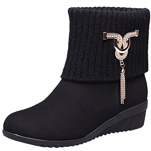 Oasap Womens Low-Heels Round-Toe Boots with Wedge Metal Ornament negro