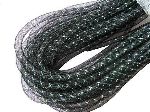 YYCRAFT 15 Yards Flexible Deco Mesh Tube for Party Wedding Deco Flex for Wreaths Cyberlox CRIN Crafts 8mm 3/8-Inch (Solid Green) (3/8 inch(8mm), Black(Green Stripe)) (Stripe Twist Ties)