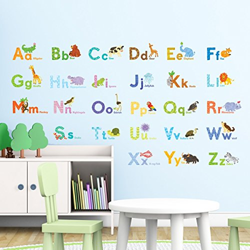 Decowall DAT-1608 Watercolour Animal Alphabet ABC Kids Wall Decals Wall Stickers Peel and Stick Removable Wall Stickers for Kids Nursery Bedroom Living Room Alphabet Wall Letter Stickers
