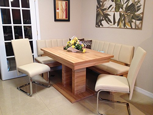4 Piece Falco breakfast nook, highest quality European leatherette dining set, corner dining set with metal swing chairs kitchen nook beige Review