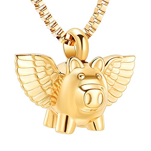 XSMZB Flying Pig Cremation Jewelry for Ashes Pendant Urn Necklace Stainless Steel Holder Ash for Pet/Human Keepsake Memorial Jewellery ()