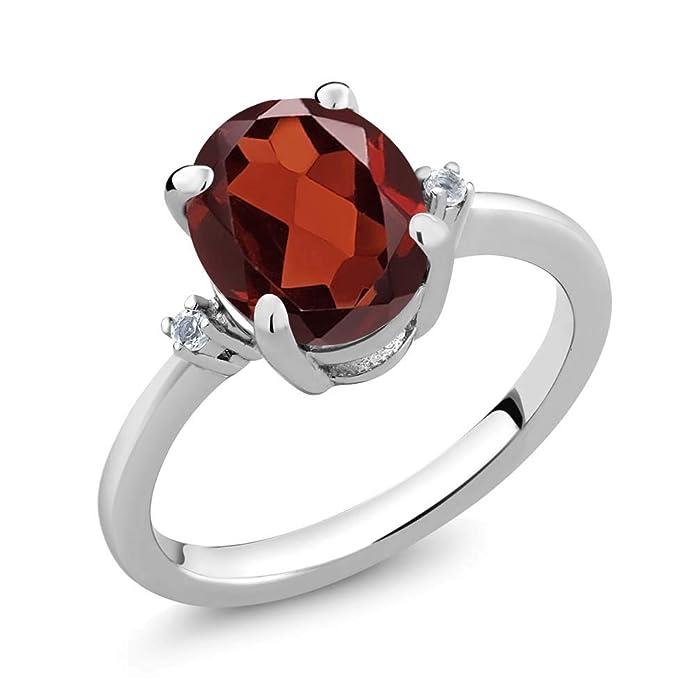 Amazon.com: 2,86 ct Oval Rojo Granate Color Blanco Plata de ...