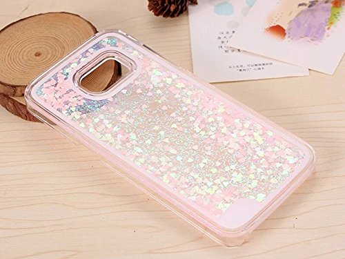 Filled Case (New 2017 Samsung Galaxy 7 Phone Pink and Purple Bling Hearts Water Filled Case Glitter Quicksand Stars (Pink/Purple Glitter Hearts))