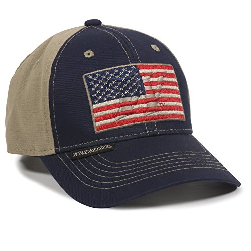 Name Usa Flag (Outdoor Cap Unisex-Adult American Flag, Navy/Khaki, Adult)