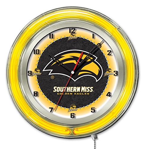 - Holland Bar Stool Co. Southern Miss Golden Eagles HBS Neon Yellow Battery Powered Wall Clock (19