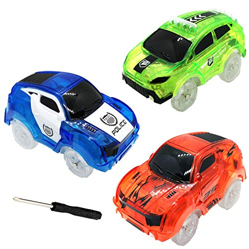 Cheap Race Cars (HZMENG Track Cars Compatible with Magic Tracks and Neo Tracks Replacement Light Up Racing Track Accessories with 5 Flashing LED Lights Glow in The Dark Best Toys for Boys and)