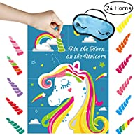 Unomor Pin The Horn On The Unicorn Party Game Supplies, Decor and Favors for Girl Birthday Party | Included Large Unicorn Poster (21