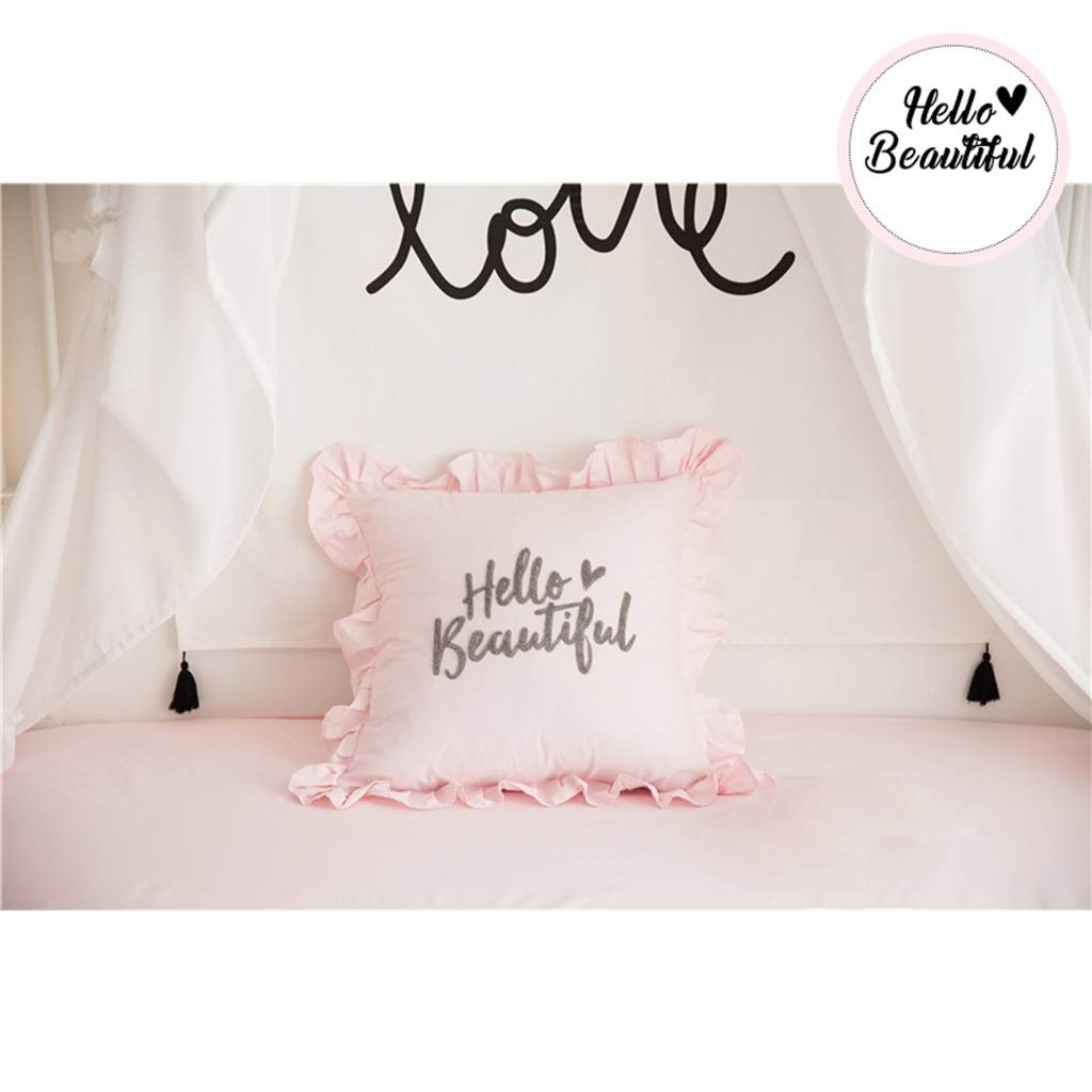 ZDNALS Cotton Pillow, Square Letter Embroidery Sofa Cushion 45cm × 45cm Pillow (Color : A) by ZDNALS