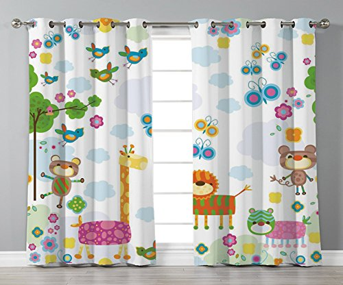 Thermal Insulated Blackout Grommet Window Curtains,Nursery,Floral Background with Funny and Cute Animals Giraffe Lion Monkeys and Butterflies Decorative,Multicolor,2 Panel Set Window Drapes,for Living by iPrint