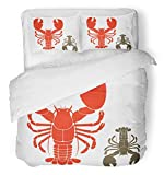 Emvency 3 Piece Duvet Cover Set Breathable Brushed Microfiber Fabric Red Claw Lobster Seafood Sea Restaurant Animal Crustacean Delicacy Meat Bedding Set with 2 Pillow Covers Full/Queen Size