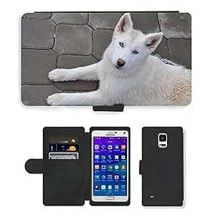 Hot Style Cell Phone Card Slot PU Leather Wallet Case // M00108567 Dog Alaska Husky Dogs Iditarod // Samsung Galaxy Note 4 IV
